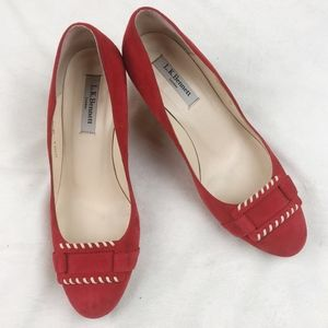 L.K. Bennett Red Suede Buckle Accent Kitten Heels